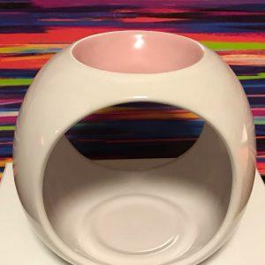 Tealight Burner – Ceramic – White-Pink Blush Gloss – Round